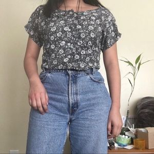 90s ULTIMATE floral short sleeve button down top